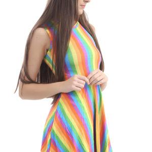 Rainbow Stripes Skater Dress