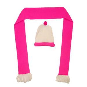 Pink/white Hat & Scarf