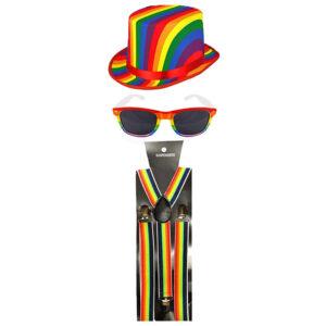 Gay Pride Topper Hat Sunglasses Braces Set