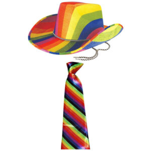 Gay Pride Cowboy Hat  Necktie Set