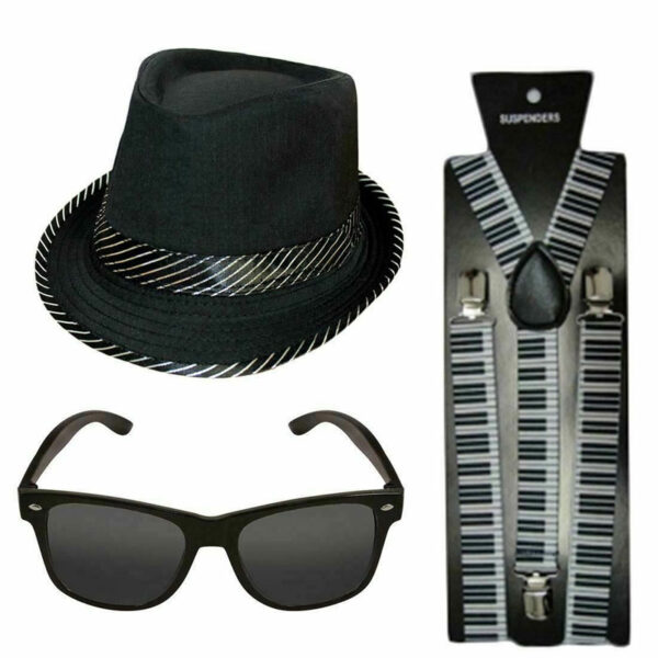 Trilby Hat Braces Glasses Set