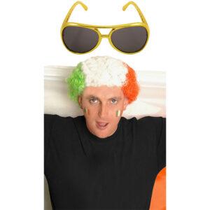 St Patricks Day Tricolor Wig Gold Glasses Set