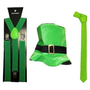 Irish Top Hat Green Braces Necktie Kit