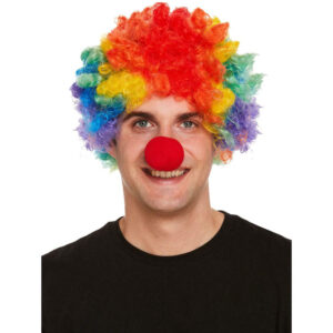 Adult Rainbow Clown Wig Red Nose Set