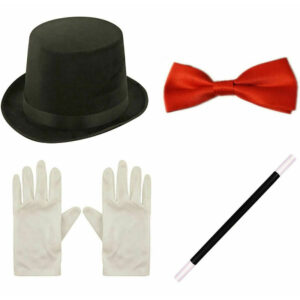 Adults Topper Hat Bow Tie Wand Gloves Set