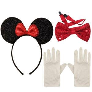 Minnie Mouse Ears Headband Bow Tie Gloves Set