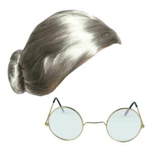 Old Lady Wig Gold Frame Clear Lens Glasses Kit