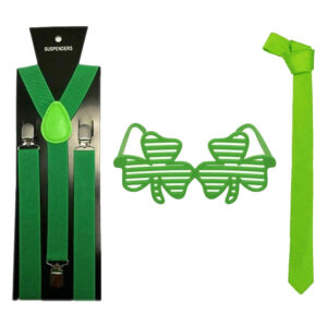 St Patrick Day Green Braces Neck Tie Glasses Set