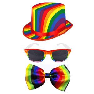 Gay Pride Rainbow Topper Hat Glasses Bow Tie Set