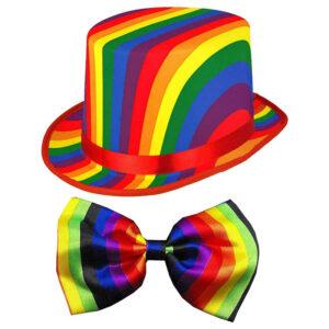 Adult LGBT Rainbow Topper Hat Bow Tie Kit