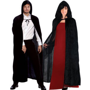 Unisex Black Velvet Hooded Cape