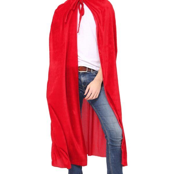 Red Velvet Hooded Cape for Men