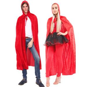 Unisex Red Velvet Hooded Cape