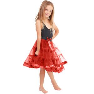 Girls 2 Layers Red Devil Petticoat TuTu Skirt