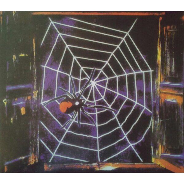 Black Window Spider Web Scene Setter for Halloween party decoration