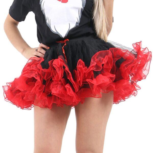 Red/Black Burlesque Ruffle Tutu Skirt for Halloween