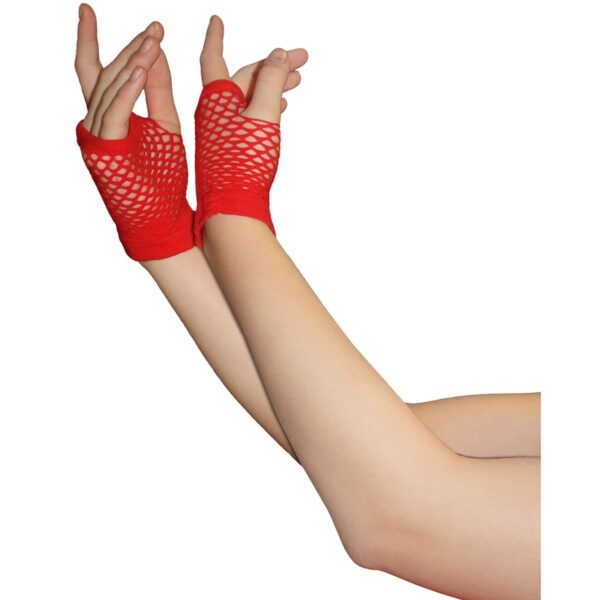 Red Fingerless Short Fishnet Gloves for women Halloween costumes Suicide Squad Harley Quinn fancy dress up