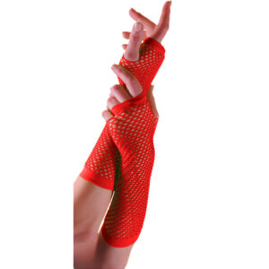 Red Long Fishnet Gloves