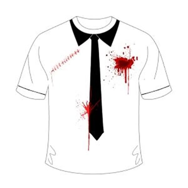 Bleeding Bullet Scar Printed T-Shirt for Halloween Zombie Dress Up