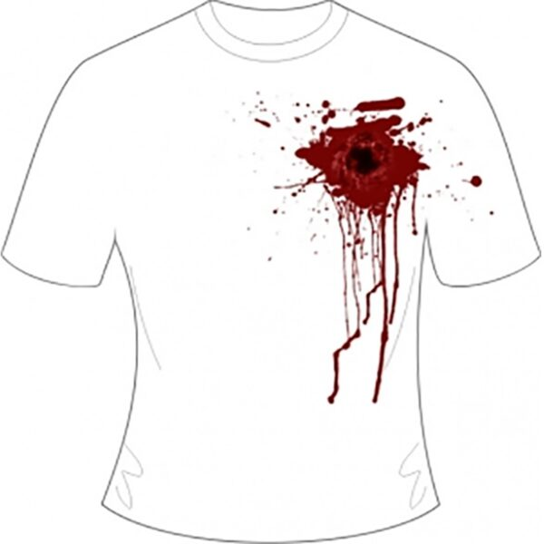 White Gunshot Wound Printed T-Shirt for Halloween Zombie Dress Up