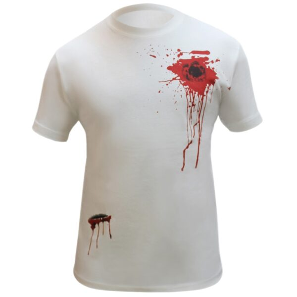 Bullet Wound and Scar Printed T-Shirt for Halloween Zombie Dress Up