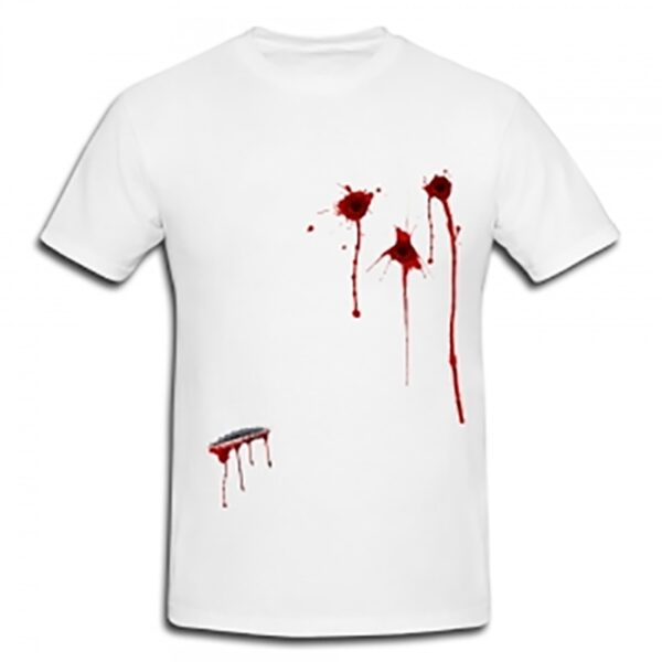 Bullets Wound and Scar Printed T-Shirt for Halloween Zombie Dress Up