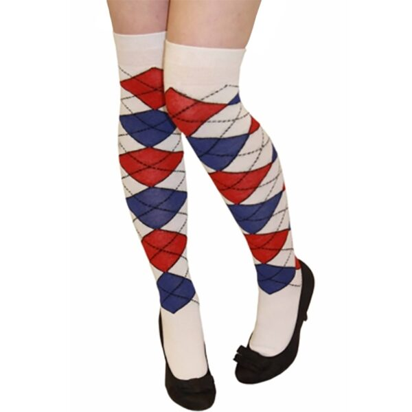 Red and Blue Argyle OTK Socks for women Halloween costumes Suicide Squad Harley Quinn fancy dress up