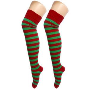 Red Green Stripe OTK Socks