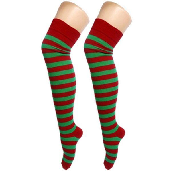 Red & Green Stripe OTK Socks for women Halloween Christmas costumes Freddy Krueger ELF fancy dress up