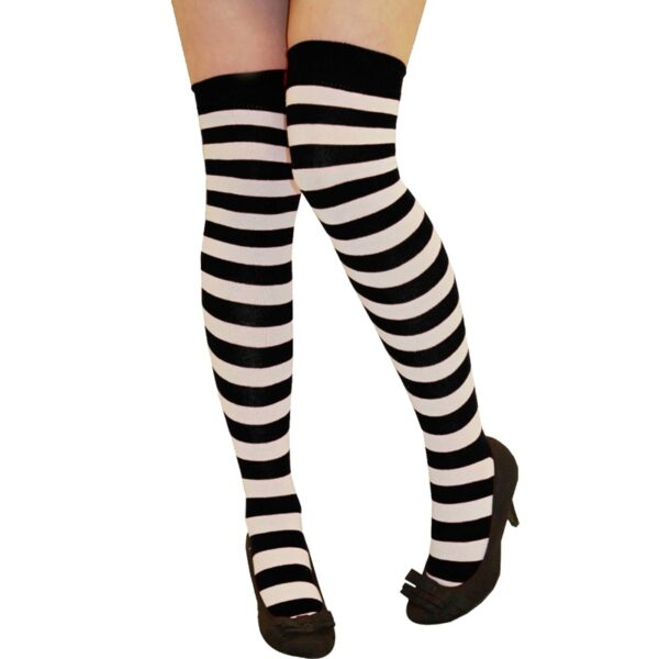Black & White Stripe OTK Socks for women Halloween costumes Nun fancy dress up