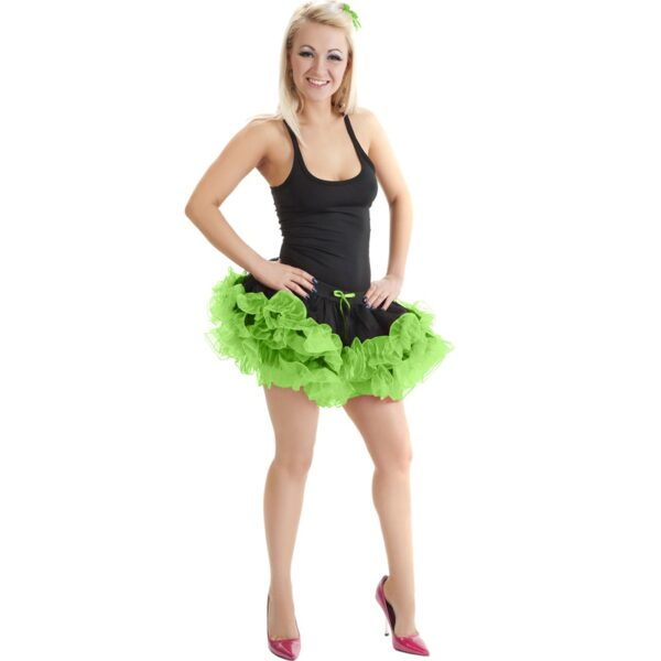 2 Layers Black Green Short Ruffle TuTu Skirt