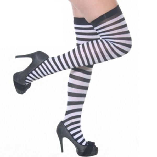 Black & White Stripe Stockings for women Halloween costumes Nun fancy dress up