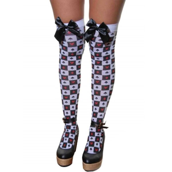 Queen of Hearts Stockings with Bow for women Halloween costumes Suicide Squad Harley Quinn fancy dress up