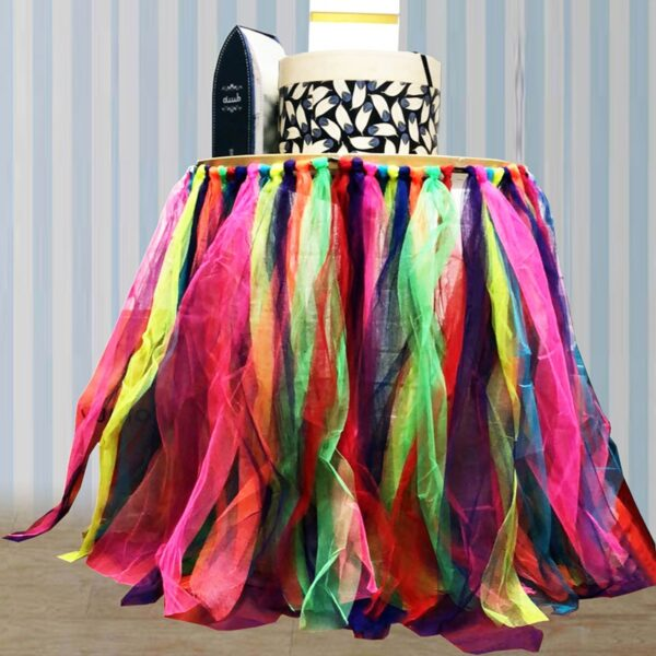 Rainbow Table TuTu Skirt for Halloween Wedding and Birthday party circus clown Dinner Table Decorations
