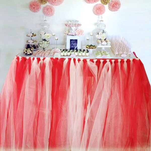 Red White Table TuTu Skirt for Halloween Wedding and Birthday arty Dinner Table Decorations