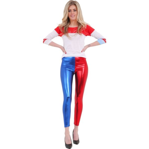 Ladies Metallic Red Blue Leggings Pants for women Halloween costumes Suicide Squad Harley Quinn fancy dress up