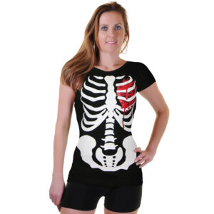 Bloody Heart & Skeleton Printed T-Shirt