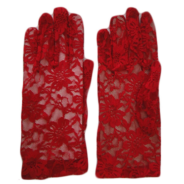 Red Short Lace Gloves for women Halloween costumes Vampire Wedding fancy dress up