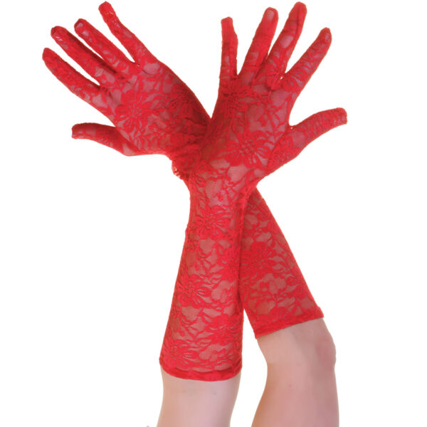 Red Long Lace Gloves for women Halloween costumes Vampire Wedding fancy dress up