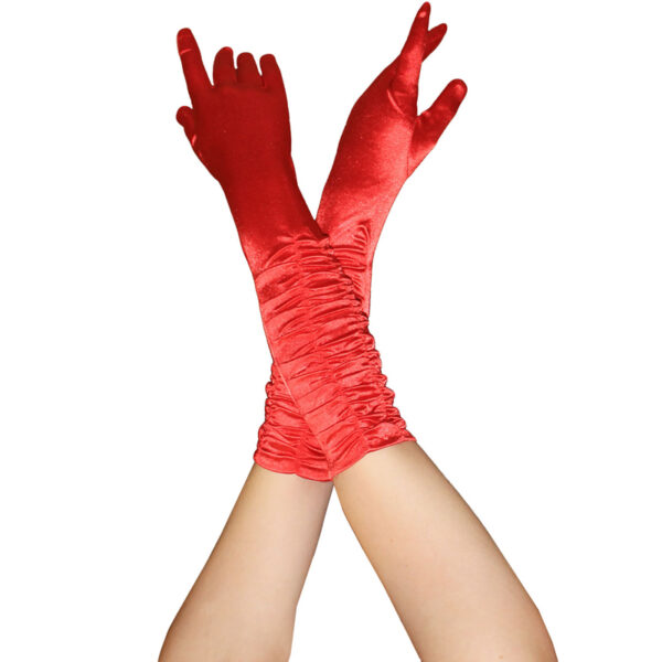Red Long Ruched Satin Gloves for women Halloween costumes Vampire Wedding fancy dress up