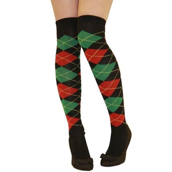 Red and Green Argyle OTK Socks for women Halloween Christmas costumes Freddy Krueger ELF fancy dress up
