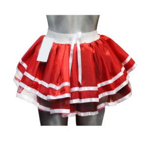 Womens 2 Stripe Red Satin Skirt
