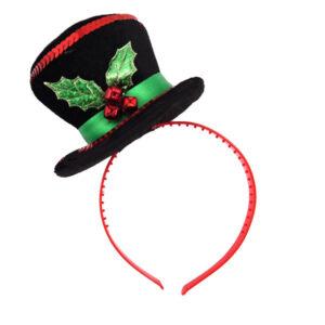 Mini Snowman Hat W/holly Headband