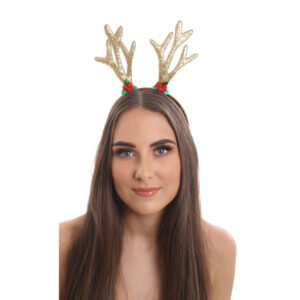 Glitter Reindeer Antlers With Holly Motif.
