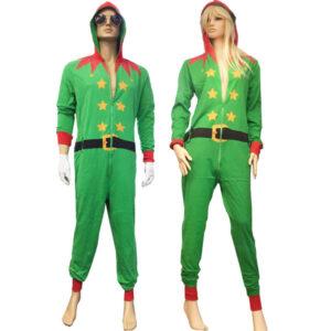 Adult Green Santa Onesie Costume