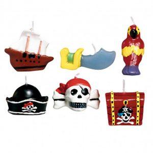 Pirates Treasure Mini Moulded Cake Candles 6pcs