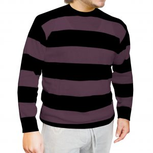 Unisex Black Purple Striped Knitted Jumper