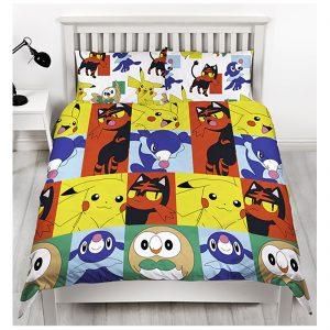 Reversible Pokemon Printed Duvet Cover Pillow Set