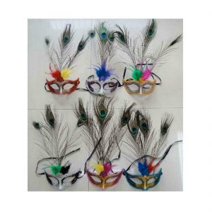 Peacock Feather Eye Mask 6 Pcs