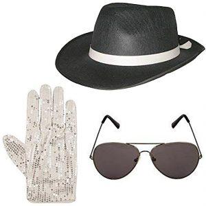 Michael Jackson Hat Glasses And Sequin Gloves Set